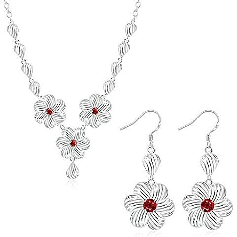 Gnzoe Gioielli Placcato argento Donnas Collane and Earring Red Hollow Flower Parure di Gioielli