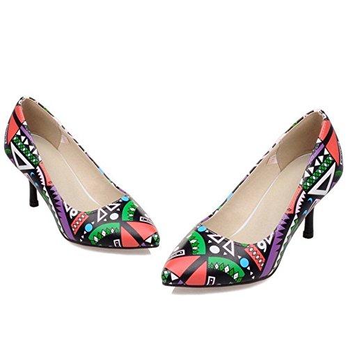 COOLCEPT Femmes Mode Ete Style Pointue Talon Aiguille Talon hauts Sexy Robe Escarpins Chaussures Rouge