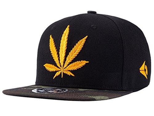 Imagen de aivtalk  negro sombrero hip hop  de béisbol con bordado de hoja de cáñamo snapback cap moda accesorio hombre mujer