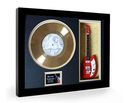 Queen Bohemian Rhapsody Framed Mini Guitarra & Disco de oro Disc Display (S)