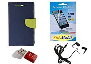 StilMobil Blue Diary With Flap Protection Kit For Xiaomi Mi3 - Screen Cover, EarPhone, Card Reader