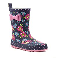 Wellygogs Girls Navy Bow Floral Welly - Size 13 Child UK - Blue