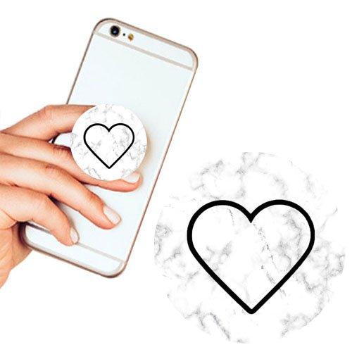 Pop Phone Grip ausziehbarer Ständer Multifunktionaler Smartphone-Halter Universal Telefon Finger hands Socket Halterung - Herz(Marmor weiß) (Billig Ipod 3 Fällen)