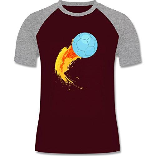 Shirtracer Handball - Burning Ball - Herren Baseball Shirt Burgundrot/Grau meliert