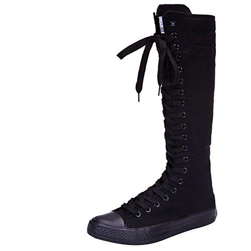 Jamron Mädchen Damen Modisch Knie Hoch Schnüren Segeltuch Stiefel Rein Schwarz Leinenschuhe Reißverschluss Tanzschuhe 801 EU40 (Damen Knie Stiefel Hohe)