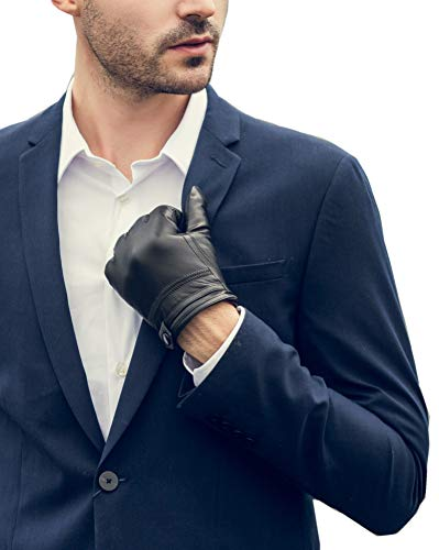 YISEVEN Herren Touchscreen Lammfell Lederhandschuhe mit Warm Gefüttert Elegant Winter Leder Autofahrer-Handschuhe, Schwarz Klein/6.5