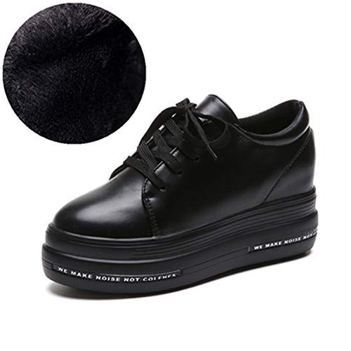 Frauen Freizeitschuhe Mit Dicke Plattform Mädchen Mode Leder High Heel Flache Schuhe Reine Schwarze Farbe Schnüren Loafer Schuhe -