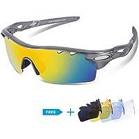 1dd55fbebfd CHEREEKI UV400 Polarized Sports Sunglasses  1 Polarized Lenses + 4 Common  Interchangeable Lenses
