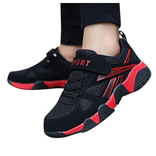 Rokoy Scarpe da Ginnastica Basse Unisex Bambini - Scarpe da Corsa Ginnastica Respirabile Mesh Antiscivolo Running Sneakers Fitness Casual Shoes(36,Rosso)