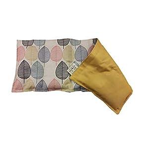 Kissenscheune Körnerkissen Wärmekissen Blätter/gelb 100% Baumwolle 200g/qm 50x20 Option mit Namen bedruckt
