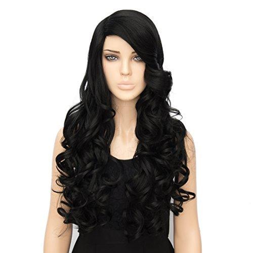 kalyss Damen Lang Lockig Hitzebeständig Pony schwarz Cosplay Haar (3 Für Halloween Einfache Personen Kostüme)
