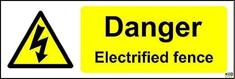 Danger-électrique de sécurité pour clôture 1,2 mm plastique rigide 300 mm x 100 mm