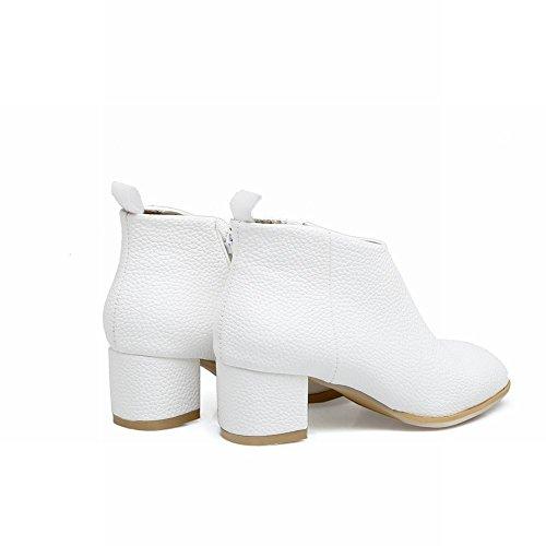 MissSaSa Donna Scarpe col Tacco Metà Casual Moda Shoes Bianco
