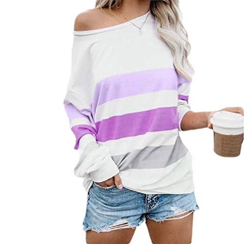 EnergyWomen Stripes Long Sleeve Stitching Casual Tunic Pullover Tshirt Top Purple S -