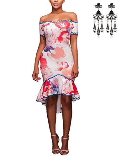 MODETREND Damen Sommerkleid mit Wohnung Schultern Geblümt Kurzarm Abendkleid Partykleid Elegante Kleider Bildfarbe