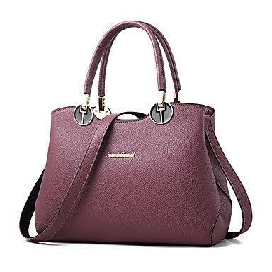 Damenmode Casual PU Leder Messenger Umhängetaschen Handtaschen/Klt Purple