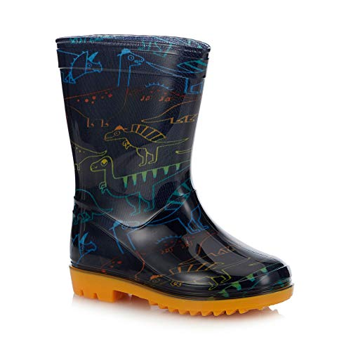 bluezoo Kids Navy Dinosaur Print Wellies