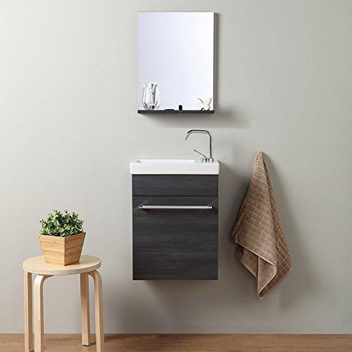 Kvstore® mobiletto bagno piccolo con specchio profonditÀ ridotta serie smart - rovere scuro