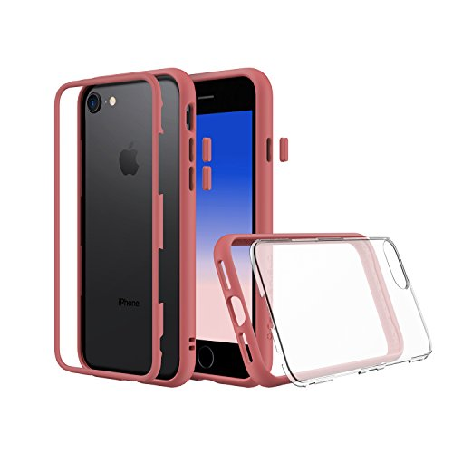 RhinoShield Modular iPhone 8 Case - [Mod Case] [shock absorbent] [tough] Also fit Apple iPhone 7 - Black Coral Pink with Clear Back