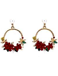 805cd8c63428 Amazon.es  flores rojas - Pendientes   Mujer  Joyería