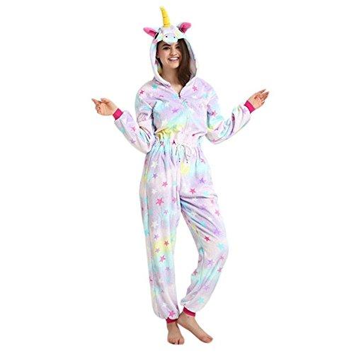 Imagen de adultos con cordón unicornio de una pieza pijamas con capucha trajes anime navidad halloween cosplay disfraces estrellas unicornio, xl  alternativa