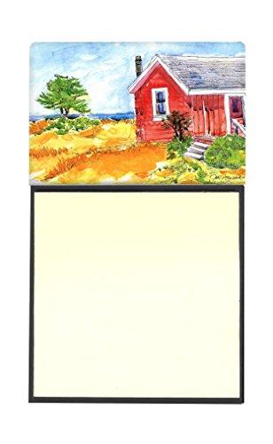 Caroline 's Treasures Old rot Cottage Haus am See oder Strand nachfüllbar Sticky Note Halter oder Postit Note Spender, 3,25von 14cm Multicolor