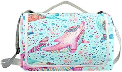 Jeansame Jeansame Jeansame Vintage Dolphin Ocean Sea Pois Picnic Mat Coperta da Picnic, da Campeggio per Outdoor Viaggio Yoga Escursionismo Impermeabile Portatile Pieghevole 150 x 145 cm | Elegante Nello Stile  | Ultima Tecnologia  5c87ff
