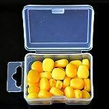 PUAK523 - 30 señuelos de Pesca de maíz para Cebo de Pesca, con Aroma de caña de Pescar Suave y Flotante, simulación de maíz, Amarillo, Tamaño Libre