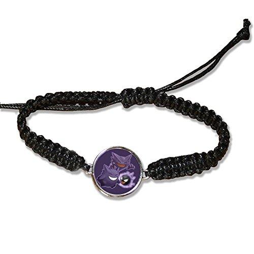 Bracelet en cuire noir Famille Fantominus / spectrum / ectoplasma Pokemon chibi et kawaii violet - Fabriqué en France - Chamalow shop