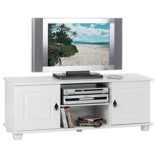 IDIMEX TV Lowboard Belfort Kiefer massiv weiß 133 x 50 cm Fernsehtisch Schrank Bank Rack