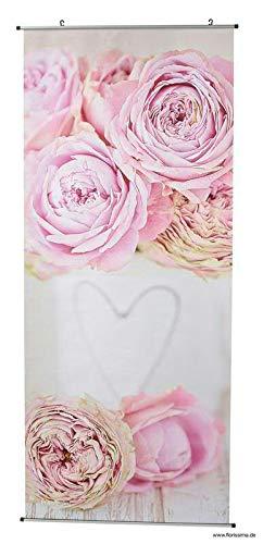 Schöner Textilbanner für Schaufenster/Fenster - Frühjahr/Ostern - 180cmx75cm - Inklusive Bannerstäbe & Aufhänger (Valentinstag - Rose)