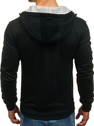 ... BOLF Herren Sweatshirt mit Kapuze Reißverschluss Pullover Basic  sportlicher Stil Mix 1A1 Schwarz_AK18 ...