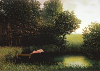 (20x28) Michael Sowa Diving Pig Kohler's Schwein Art Print Poster by Poster Revolution