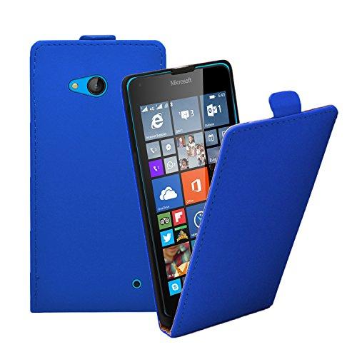 Membrane - Ultra Slim Blau Klapptasche Hülle kompatibel mit Nokia Microsoft Lumia 640 (Dual SIM) + 2 Bildschirmschutzfolien