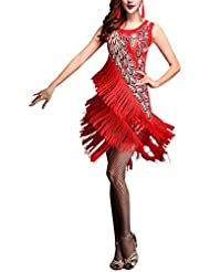 16df841c1f88 besbomig Sexy Tassel Sequins Latin Dance Dress Womens Party Dancewear -  Ballroom Salsa Samba Rumba Tango