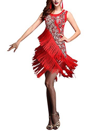 besbomig Sexy Quaste Pailletten Latein Dance Kleid Damen Partykleider - Ballroom Salsa Samba Rumba Tango Wettbewerb Dancewear