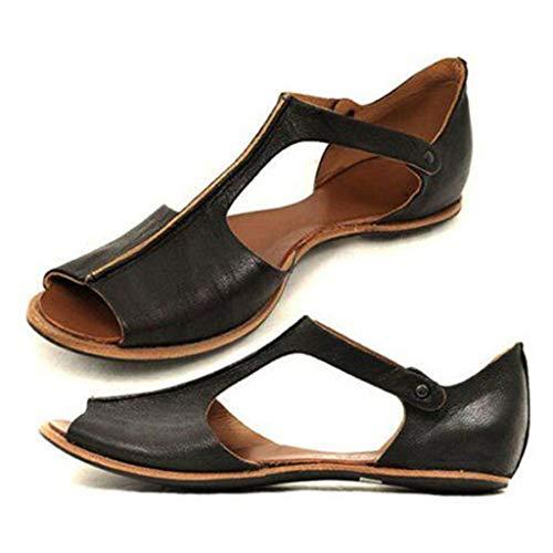 iHAZA- Zapatos Mujer 2019 Sandalias Mujer Verano Sandalias Plataformas Mujer Womens Fashion Flats Fish Mouth Beach Shoes Open Toe Ankle Bottom Roman Sandals
