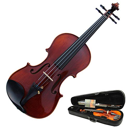Violino Violino acustico di prestazioni di legno di abete naturale naturale lucido con custodia rigida Kit di violino di dimensioni standard con arco di legno duro per principianti 4/4, 3/4, 1/2, 1/4,