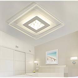 GK-Semplice ed elegante soggiorno è accogliente e romantica camera da letto marrone chiaro off scale corridoi lampada da soffitto LED ultra-sottili di tre-colore luce,Square 52x52cm