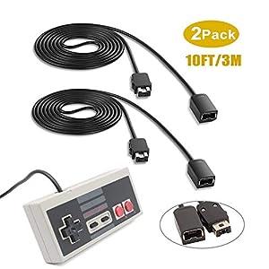 Verlängerungskabel für SNES / NES und Wii Controller, 3M / 10ft (2 Pack) Verlängerungskabel mit Mini NES Classic Controller, kompatibel für Nintendo Super SNES Classic, NES Classic, Wii U und mehr