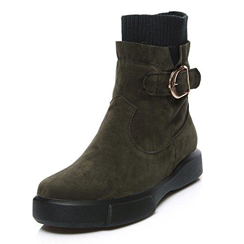 HSXZ Scarpe donna vello Autunno Inverno Equitazione moda Stivali Stivali Stivali Bootie Round Flat Toe stivaletti/stivaletti stivali Mid-Calf fibbia per Green