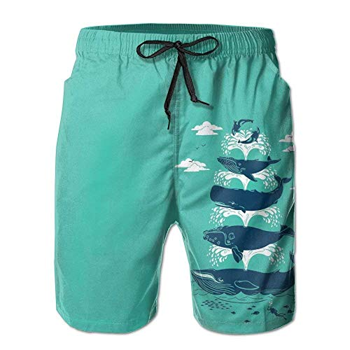 oardshorts Stretch Quick Dry Whale Water Spray Game Beach Shorts Pants for Man X-Large ()