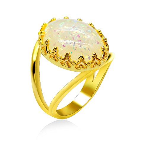 Uloveido Rose Gold Farbe Lab Hohlring für Frauen Opal Ring Antik für Männer RA0352 (Rose Gold-diamant-opal-ring)