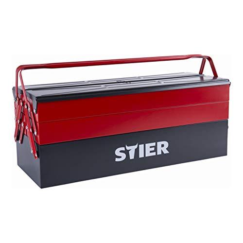 STIER Werkzeugkasten leer, Stahlblech, 520x190x200 mm, 5 Fächer, Werkzeugkoffer, optimal geeignet zum Verstauen und