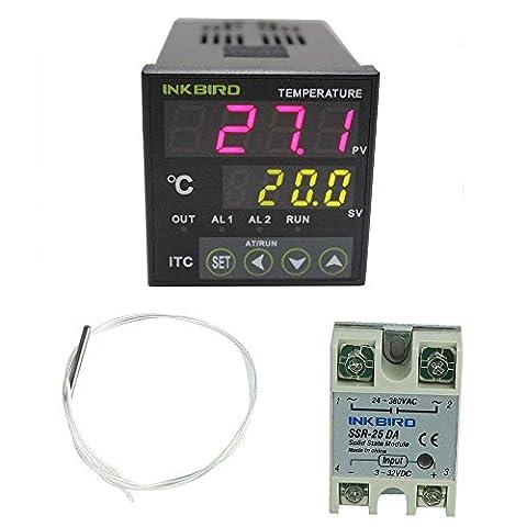 inkbird Contrôleur Contrôle PID numérique de la température 12–24V Tension de sortie itc-100rl avec thermostat PT100capteur de température thermocouple et 25da SSR Solid State Relais