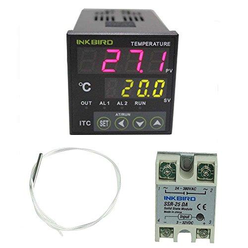 Inkbird Digitale PID Temperatur Control Controller 12-24V Spannungsversorgung Thermostat ITC-100VL mit PT100 Temperaturfühler und 25DA SSR Solid State Relay (24v Heizung Thermostat)