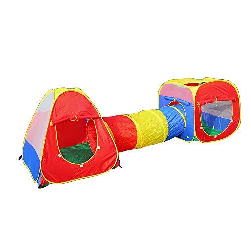 WJQ Tunnelzelt für Kinder - 3 in 1 Kugelgrube, Doppel-Nadelstich-Technologie Belüftung Insektensicher Leicht zu tragen und zu reinigen - Ideal für Innen- und Außentheater