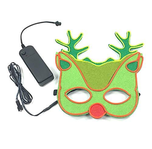Rentier Kostüm Tanz Und - LIUWENMEI Leuchtende Maske, Weihnachten Rentier Cos Prop Kostüm Halloween-Maske