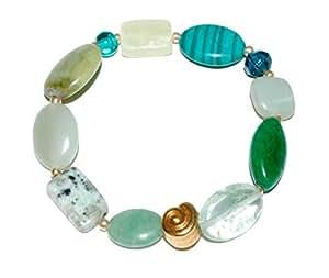 Bracelet pierres précieuses-waldzauber-jade-jasper/aventurine escargot-vert-fashion-beads