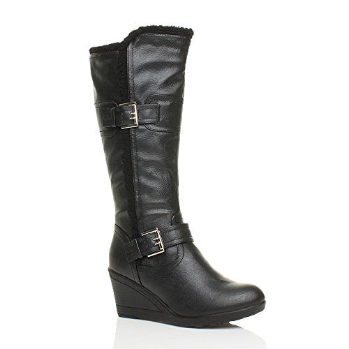 WOMENS LADIES WEDGE MID HEEL STRAPPY FUR TRIM ZIP CALF WINTER BOOTS...